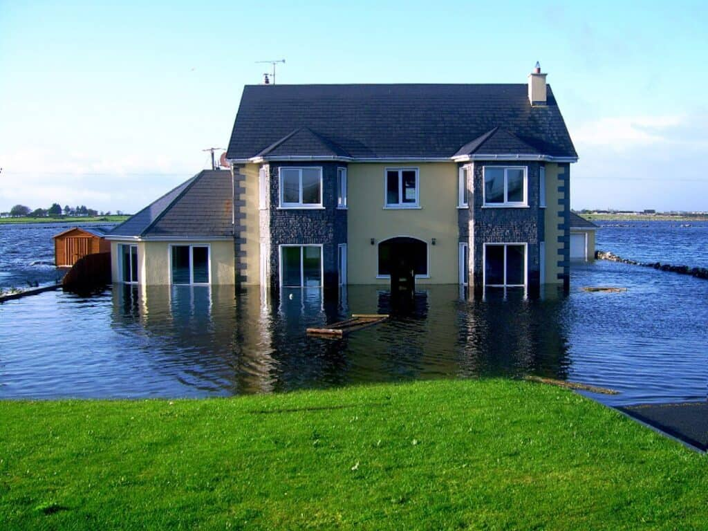 Picture shows a flood damaged property. PCLA provide free flood damage help and advice.