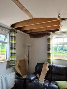 A water damaged ceiling.